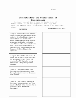 Declaration Of Independence Worksheet Answers Elegant Declaration Of Independence Worksheet Answers