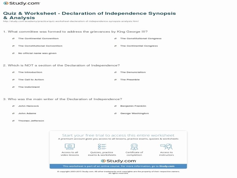 Declaration Of Independence Worksheet Answers Lovely Declaration Independence Student Worksheet Answers