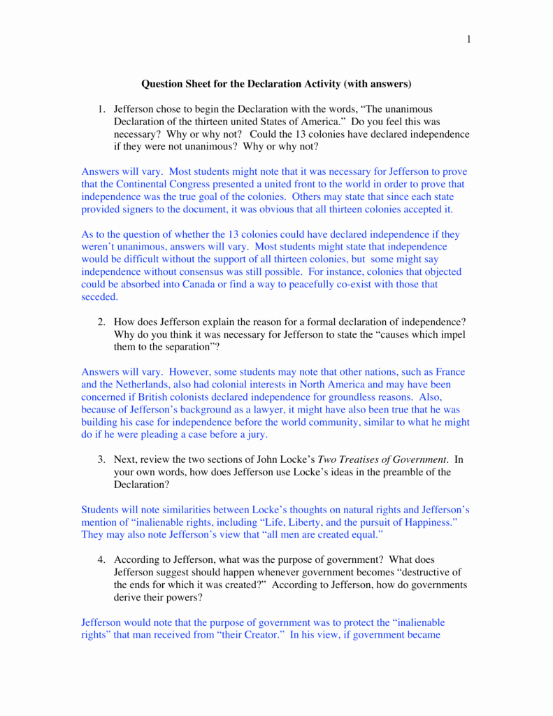 Declaration Of Independence Worksheet Answers Luxury Declaration Independence Grievances Worksheet Answer