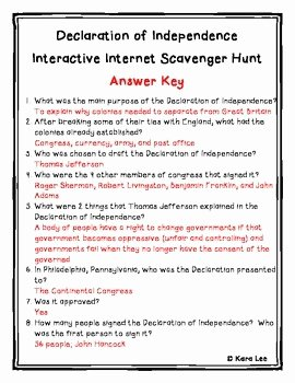 Declaration Of Independence Worksheet Answers Luxury Declaration Of Independence Internet Scavenger Hunt by
