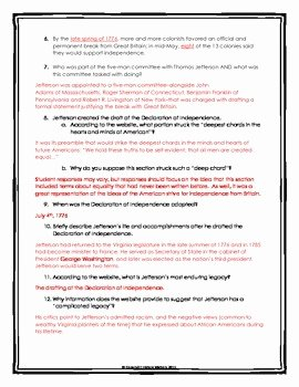 Declaration Of Independence Worksheet Answers Luxury Declaration Of Independence Webquest with Key History