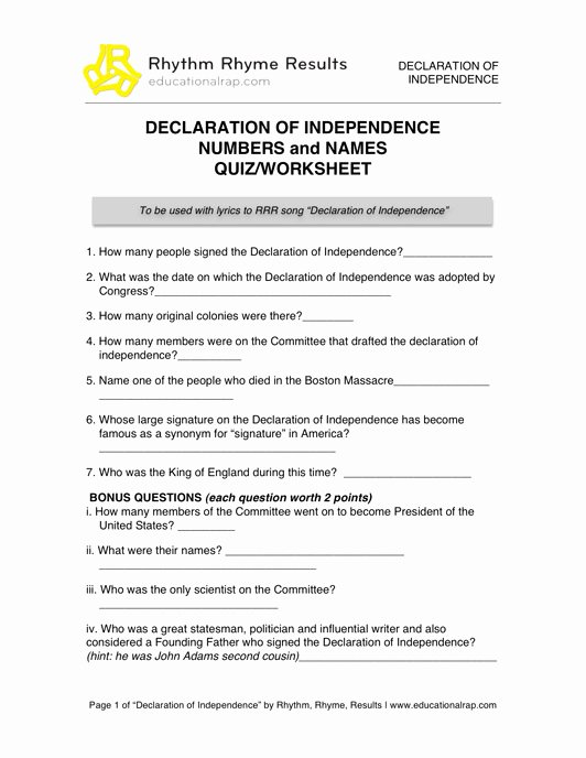 Declaration Of Independence Worksheet Awesome 19 Best Of History Worksheets with Answer Keys