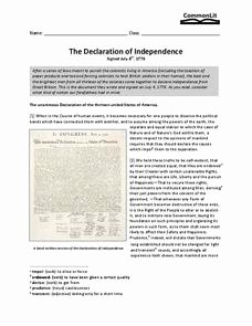 Declaration Of Independence Worksheet Beautiful the Declaration Of Independence 7th 10th Grade Worksheet