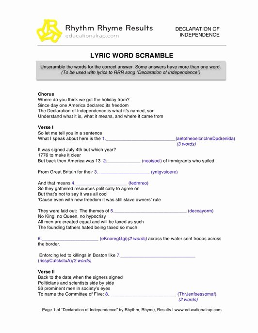 Declaration Of Independence Worksheet Best Of Declaration Of Independence song with Free Worksheets