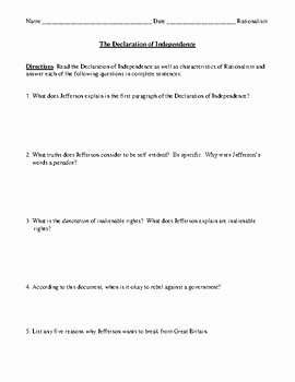 Declaration Of Independence Worksheet Best Of the Declaration Of Independence Worksheet Test or