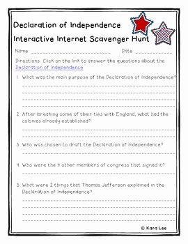 Declaration Of Independence Worksheet Fresh Declaration Of Independence Internet Scavenger Hunt by