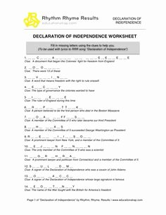 Declaration Of Independence Worksheet Inspirational Declaration Of Independence Scavenger Hunt Worksheets