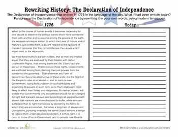 Declaration Of Independence Worksheet Inspirational the Declaration Declaration Of and Declaration Of