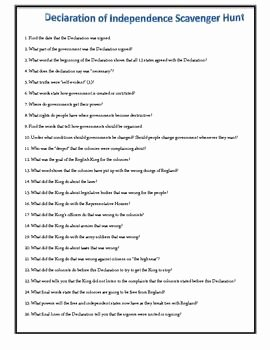 Declaration Of Independence Worksheet Lovely Declaration Of Independence A Scavenger Hunt Students
