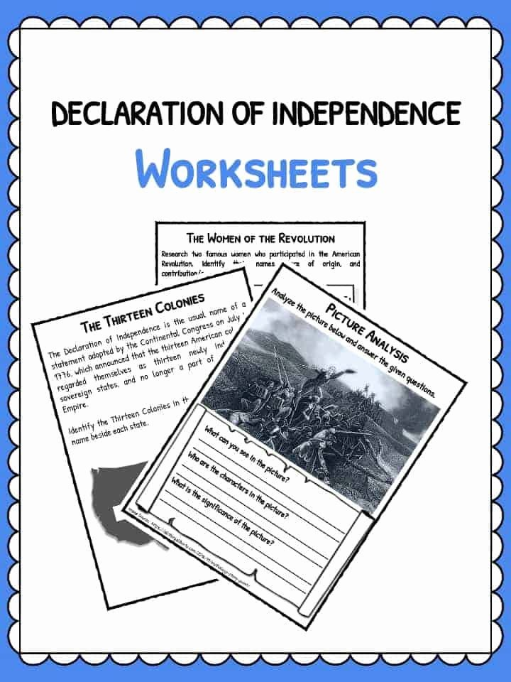 Declaration Of Independence Worksheet New Declaration Of Independence Facts & Worksheets