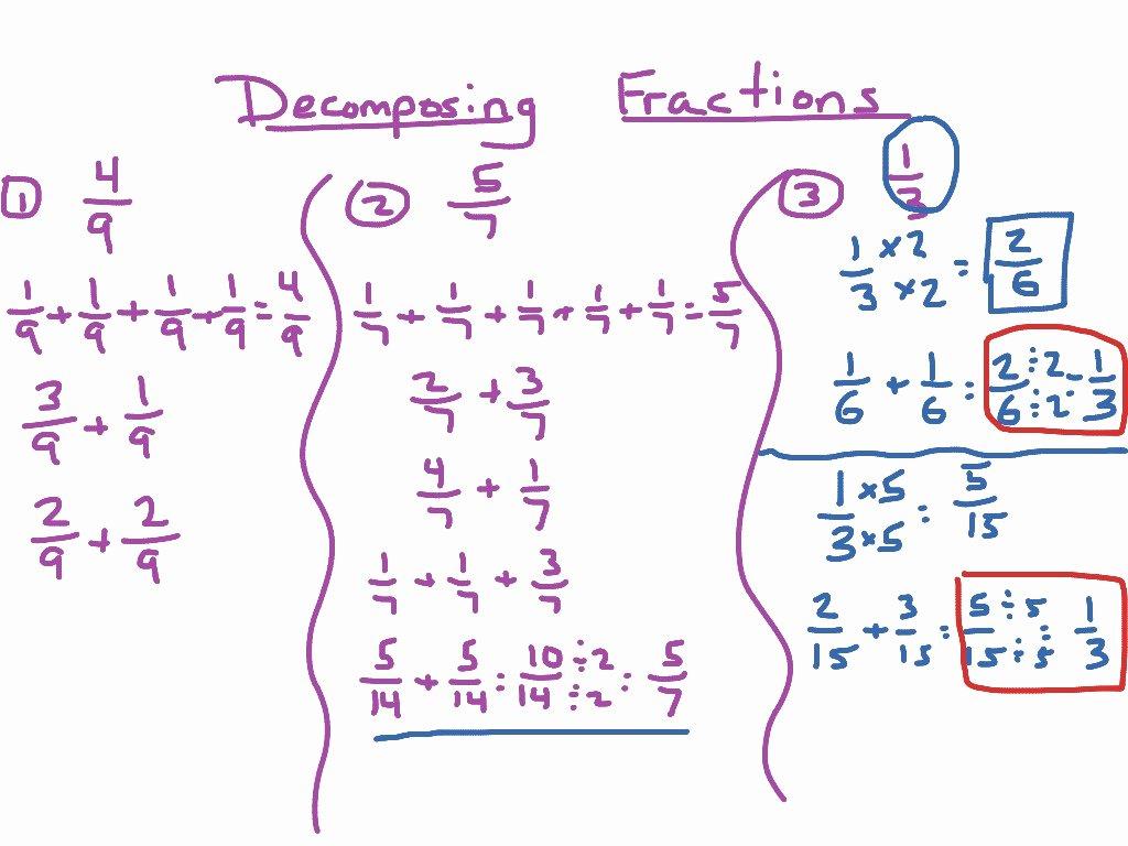 Decomposing Fractions 4th Grade Worksheet Beautiful De Posing Fractions