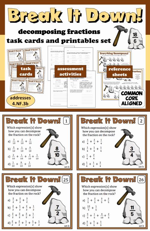 Decomposing Fractions 4th Grade Worksheet Elegant Break It Down De Posing Fractions Task Cards