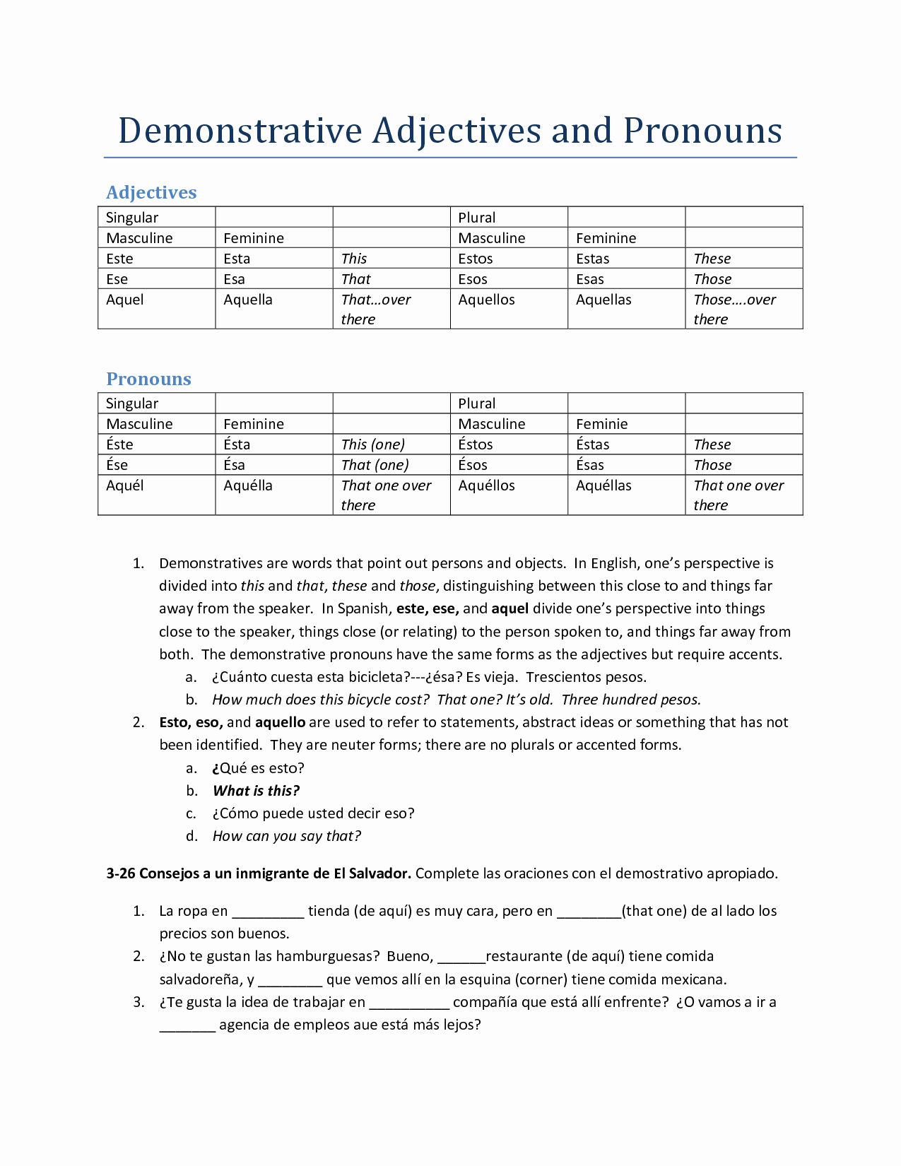 Demonstrative Adjectives Spanish Worksheet Best Of 17 Best Of Spanish Demonstrative Adjectives