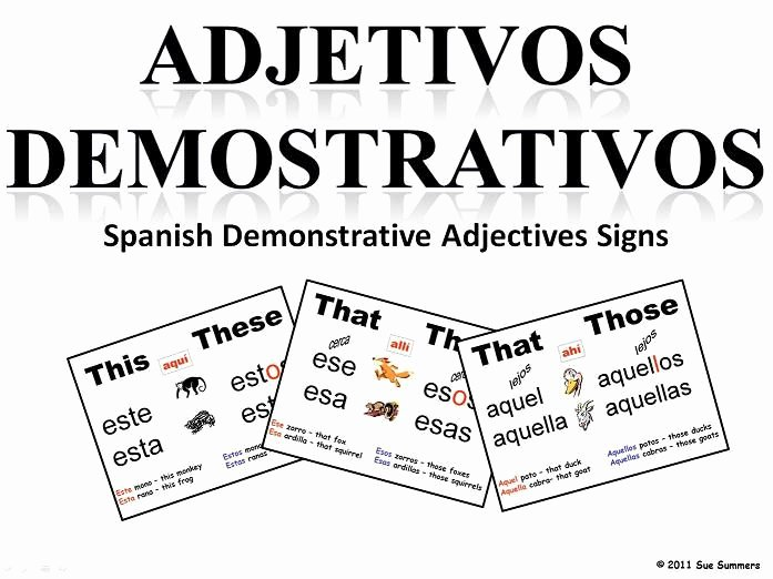 Demonstrative Adjectives Spanish Worksheet Fresh 36 Best Images About Demonstrative Adjectives Los