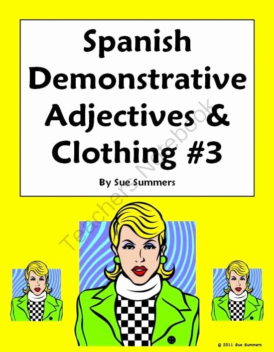 Demonstrative Adjectives Spanish Worksheet Inspirational Spanish Demonstrative Adjectives & Clothing Worksheet 3