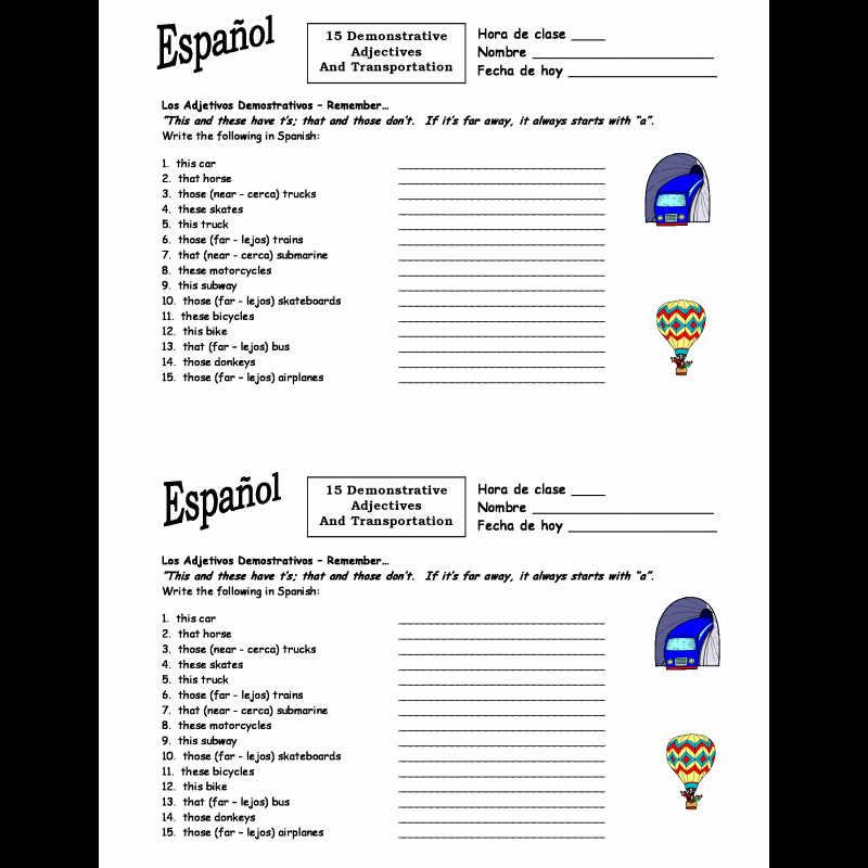 Demonstrative Adjectives Spanish Worksheet Unique Demonstrative Pronouns Spanish Worksheet the Best