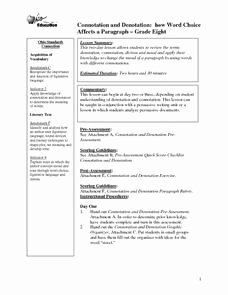 Denotation and Connotation Worksheet Awesome Connotation and Denotation 8th Grade Lesson Plan