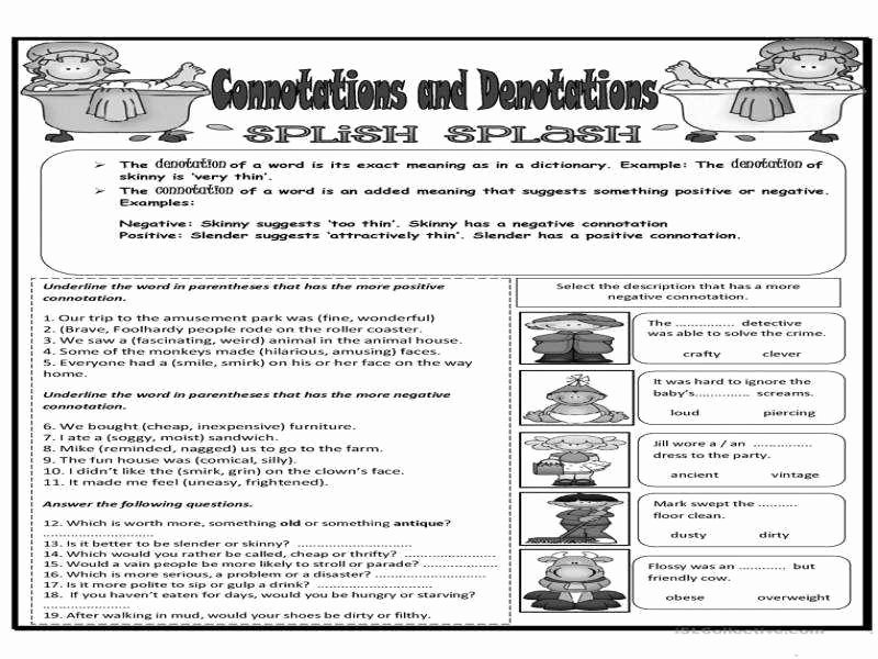 Denotation and Connotation Worksheet Awesome Connotation and Denotation Worksheets