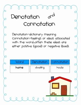 Denotation and Connotation Worksheet Beautiful Denotation and Connotation by Gina andersen