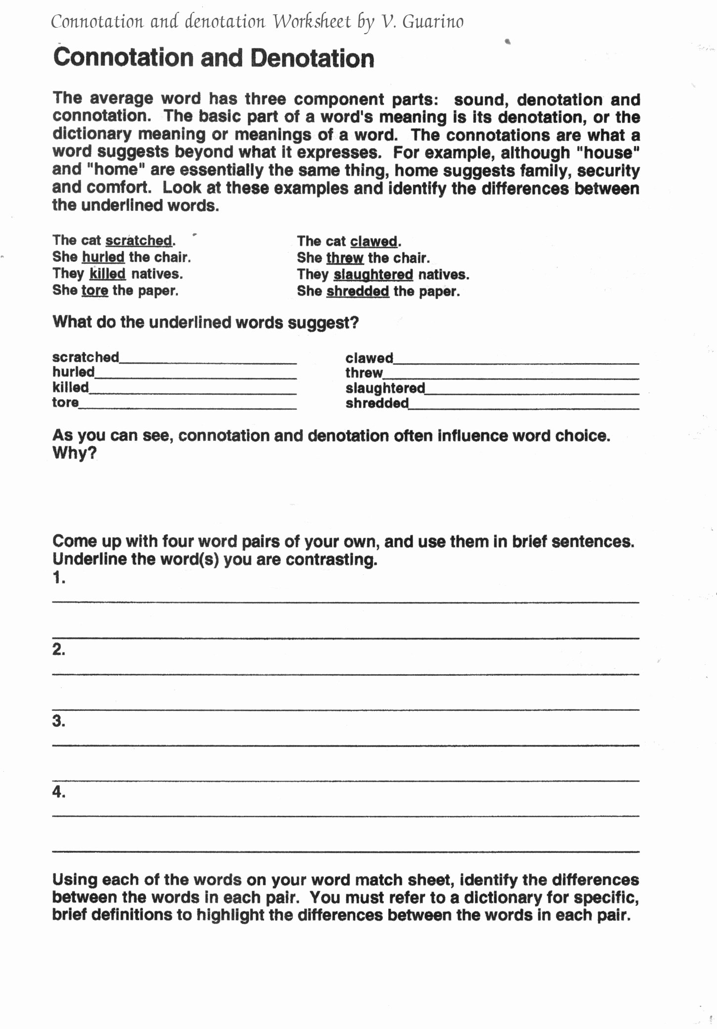 Denotation and Connotation Worksheet Fresh Connotation and Denotation Worksheets for Middle School