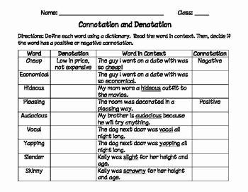 Denotation and Connotation Worksheet Inspirational Connotation and Denotation