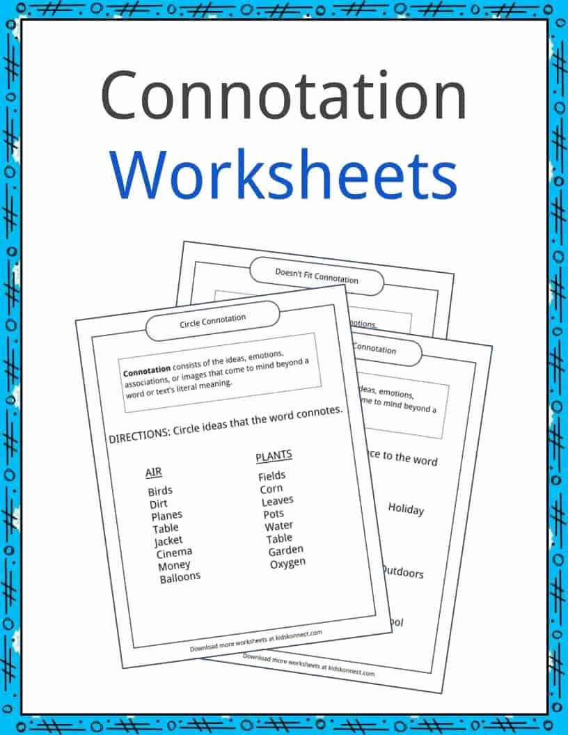 Denotation and Connotation Worksheet Inspirational Connotation Examples Definition and Worksheets