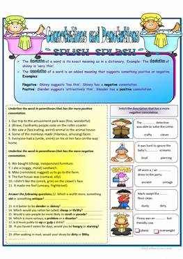 Denotation and Connotation Worksheet Inspirational English Esl Connotation Worksheets Most Ed 2