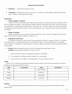 Denotation and Connotation Worksheet Lovely Page 1 Connotation Denotation In Class Worksheetcx