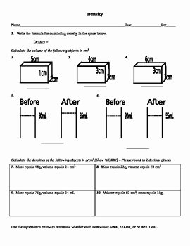 Density Calculations Worksheet 1 Awesome Calculating Density Worksheet by Feed Your Brain with