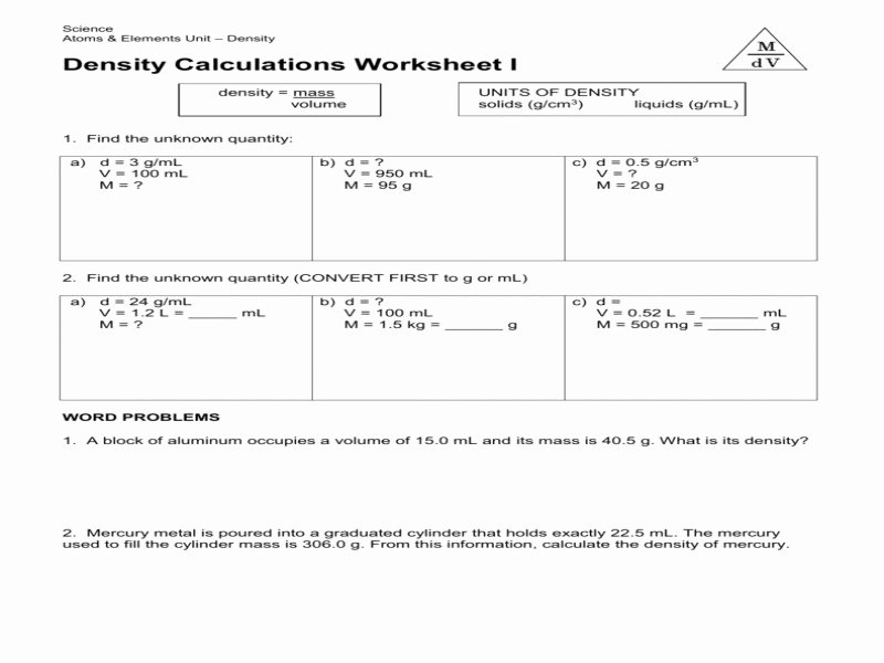 Density Calculations Worksheet 1 Best Of Science 8 Density Calculations Worksheet Free Printable