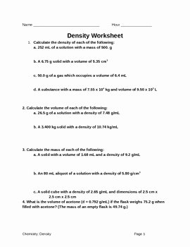 Density Calculations Worksheet 1 Luxury Density Worksheet by Leah S Chemistry Corner