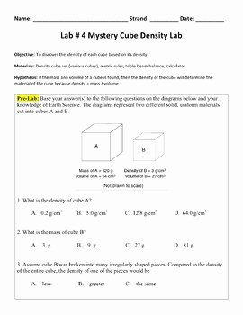 Density Calculations Worksheet Answer Key Inspirational Lab 4 Mystery Cube Density Lab by Nyc Earth Science