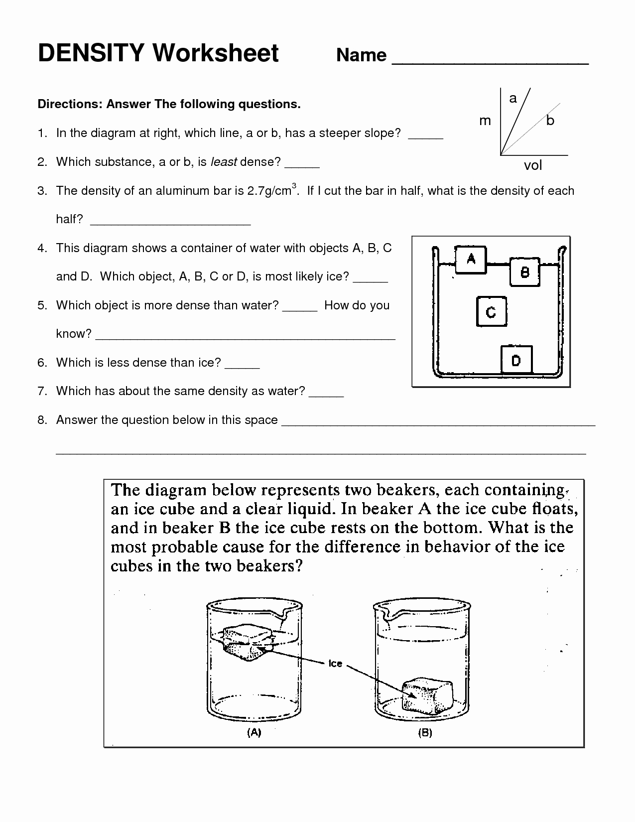 Density Calculations Worksheet Answer Key Lovely 10 Best Of Density Practice Worksheet Middle School