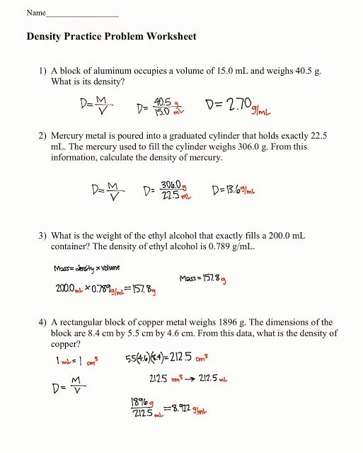 Density Calculations Worksheet Answer Key Lovely tom Schoderbek Chemistry Density Problems