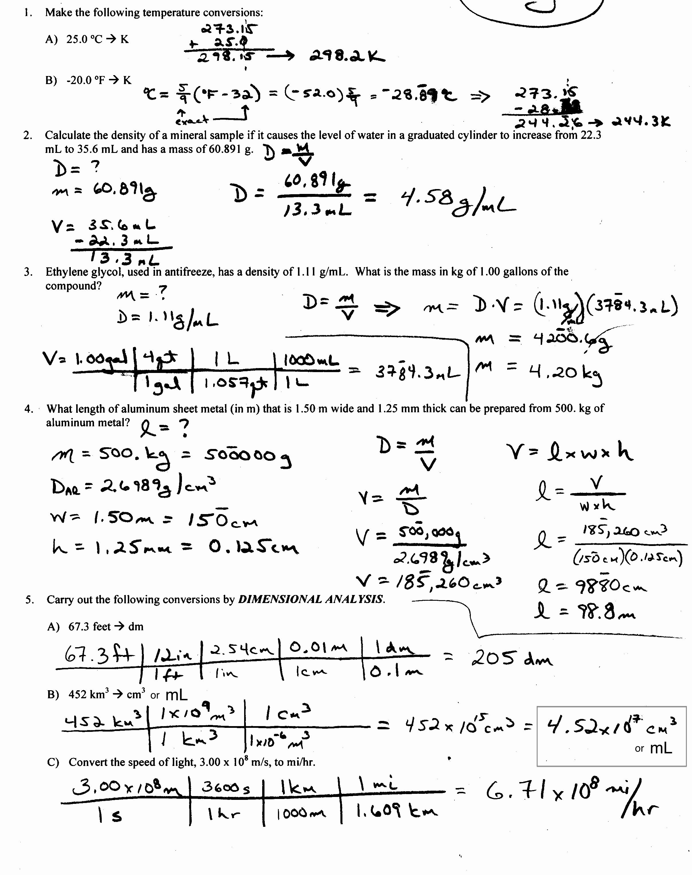 Density Calculations Worksheet Answer Key New Density Worksheet with Answers Calculate Density