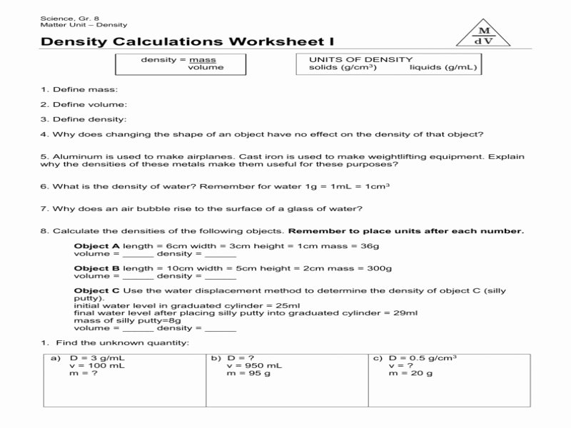 Density Calculations Worksheet Answers Beautiful Science 8 Density Calculations Worksheet Free Printable
