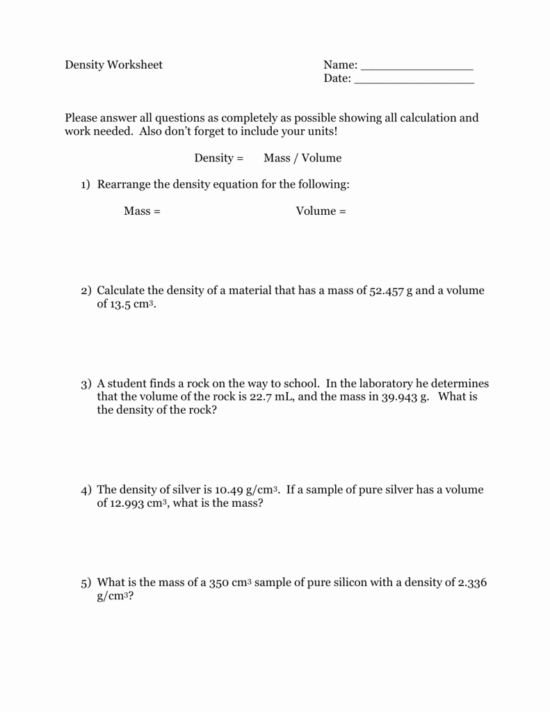 Density Calculations Worksheet Answers Elegant Density Worksheet