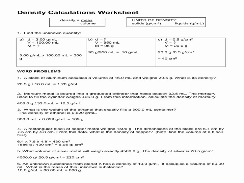 Density Calculations Worksheet Answers Inspirational Density Calculations Worksheet Answers Free Printable