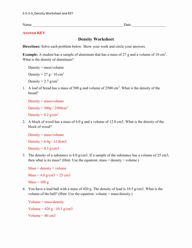 Density Practice Problem Worksheet Answers Awesome Density Practice Worksheet Answers