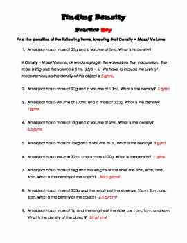 Density Practice Problem Worksheet Answers Awesome Finding Density Practice Worksheet and Quiz by the Friz