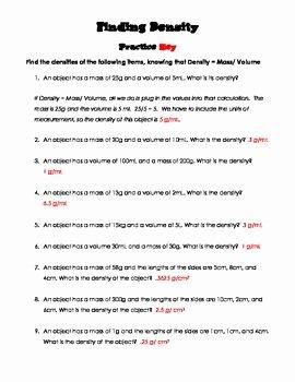 Density Practice Problem Worksheet Answers Awesome Finding Density Practice Worksheet and Quiz by the Friz