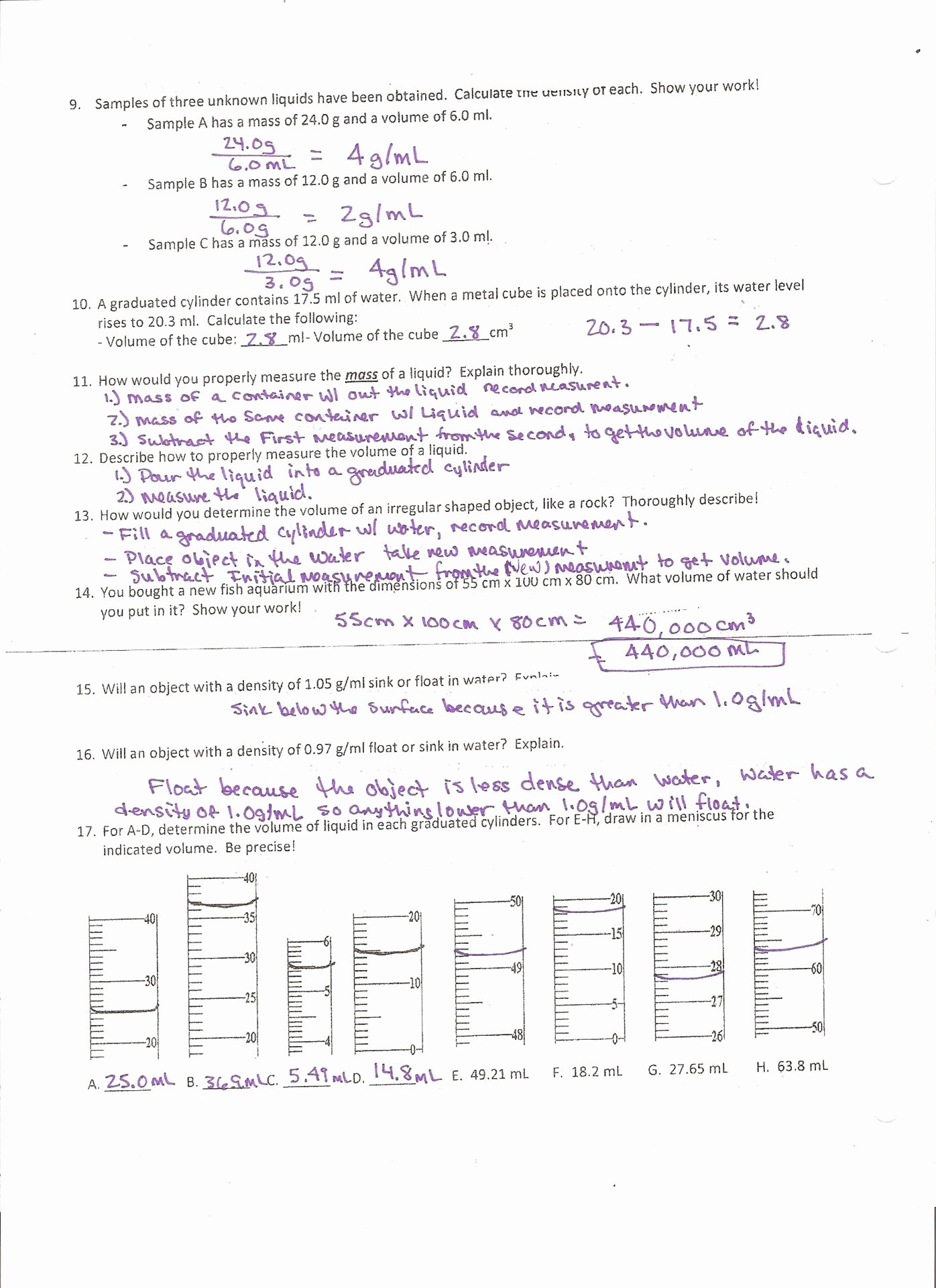 Density Practice Problem Worksheet Answers Awesome Stoichiometry Mass to Mass Problems Worksheet Answer Key