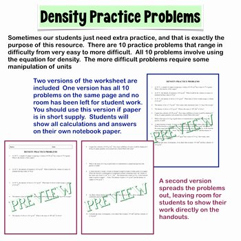 Density Practice Problem Worksheet Answers Elegant Density Practice Problems by Amy Brown Science