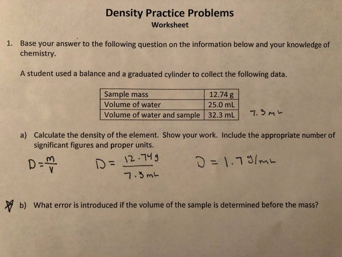 Density Practice Problem Worksheet Answers Elegant Density Practice Problems Worksheet Answers