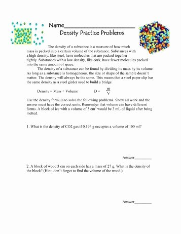 Density Practice Problem Worksheet Answers Fresh Density Practice Problem Worksheet Auburn City Schools