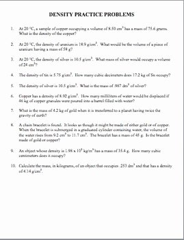 Density Practice Problem Worksheet Answers Fresh Density Practice Problems Worksheet Answers