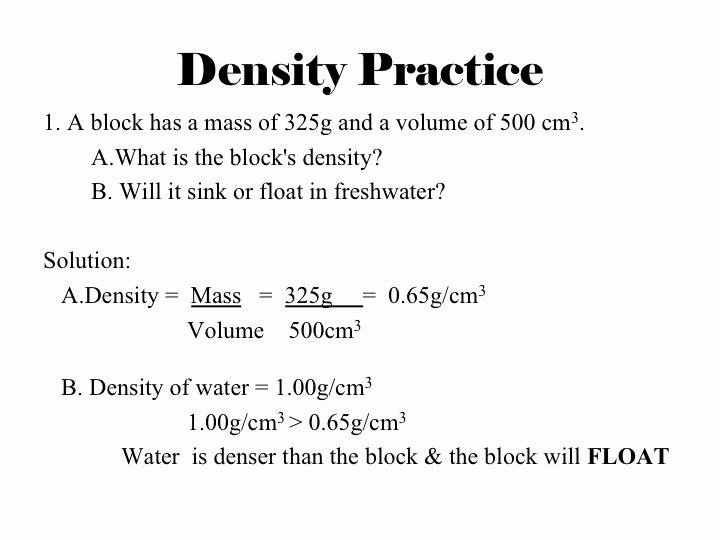 Density Practice Problem Worksheet Answers Fresh What is An Example Density Practice Problem Frompo