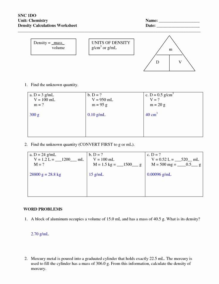 Density Practice Problem Worksheet Answers Lovely Density Worksheets with Answers