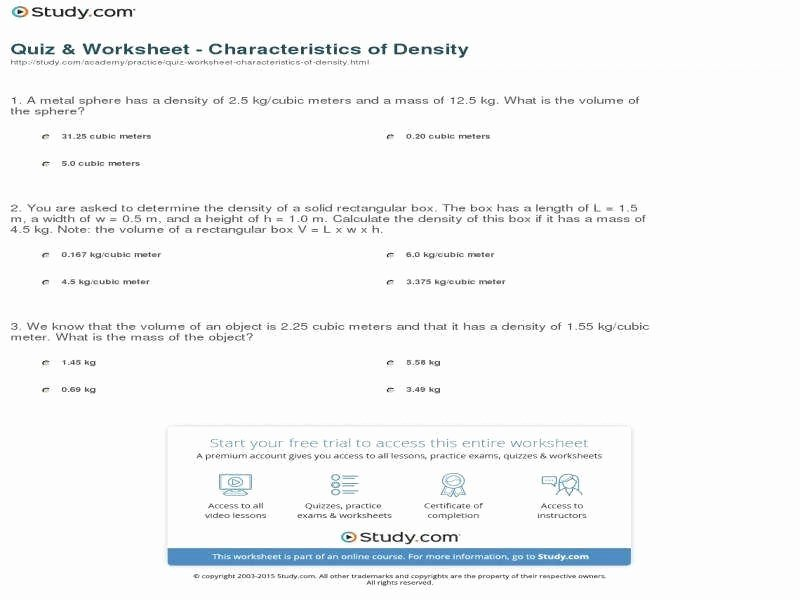 Density Practice Problem Worksheet Answers Luxury Density Worksheet Answers