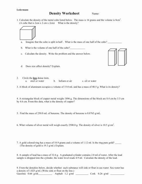 Density Practice Problem Worksheet Answers Unique Density Practice Problem Worksheet Answers A Block